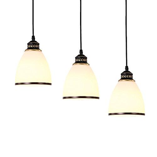 & Innenpendelleuchte Kronleuchter - American Restaurant Kronleuchter Creative Bar Drei-Kopf-Kronleuchter (Standard White Light) Pendelleuchte (Farbe : A-Warmes Licht) -