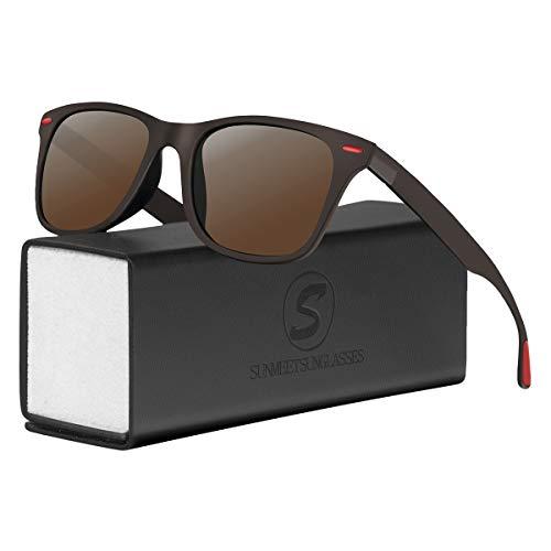 Sunmeet Polarisierte Sonnenbrillen Herren Damen Retro Fahren Elastizität Outdoor Eyewear Sonnenbrillen S1003(Braun)