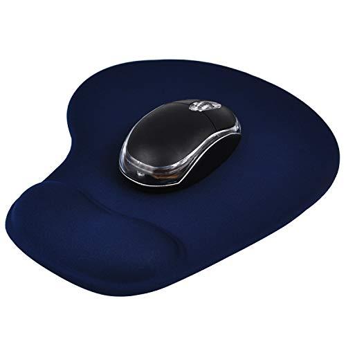 trixes Komfort Mauspad mit Handgelenkauflage - Blaue Mausmatte für Computer, PC, Laptop, Apple, Mac - rutschfeste Gummiunterseite - Geeignet für Kugel-, Laser- und optische Mäuse
