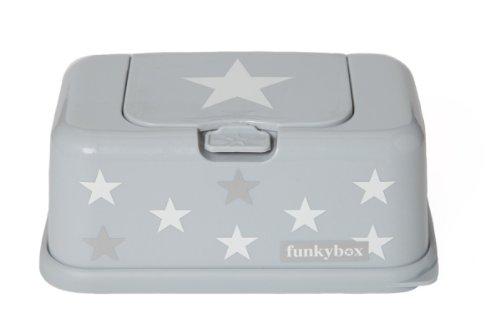 Funkybox graue Feuchttücherbox mit weißen und silbernen Sternen