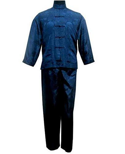 Hombre Pijamas Vintage Azul Marino Hombres Chinos