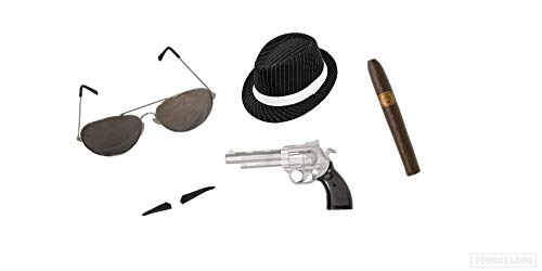 Seemeinthat 1920er Jahre Pinstriped Gangster Hat Gun Spiv Schnurrbart Fake Zigarar Aviator Sonnenbrille