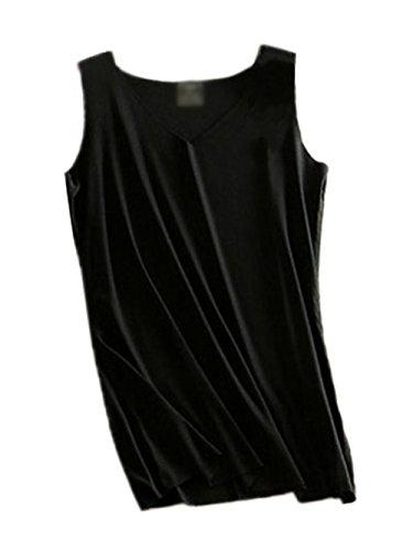 Haililais Sottile Bretelle Donna Morbidi Senza Maniche Maglietta Spalle Scoperte Blusa Sexy Elegante Camicetta Bluse Tinta Unita Canotta Black1
