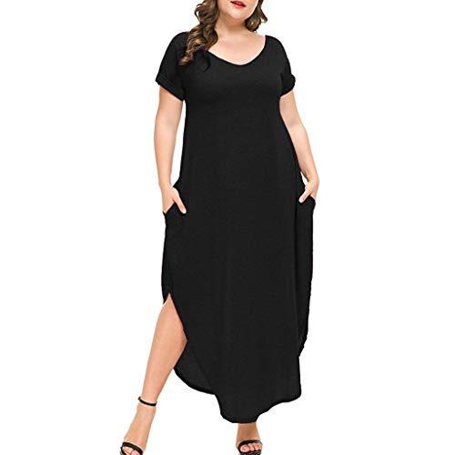 Hahuha , Women Dress. Frauen Plus Größe V-Neck Loose Long Dress Short Sleeve Side Split Maxi...