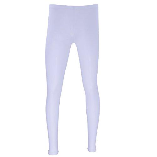 dPois Herren Leggings Pantyhose Lang Unterhosen Männer Transparent Strumpfhose Tights Unterwäsche Longjohns Underwear Strümpfe in Schwarz, Weiß, Rosa, Nude Weiß XL
