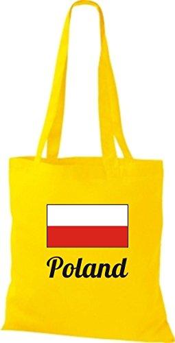ShirtInStyle Stoffbeutel Baumwolltasche Länderjute Poland Polen Farbe Pink gelb