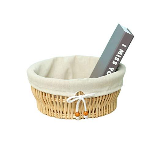 Öko-runde Weidenkorb,Handgewebte rattan storage box spielzeug bambuskörben mit liner-Primärfarben 30x13.5cm(12x5inch) (Wäschekorb Weide Mit Liner)