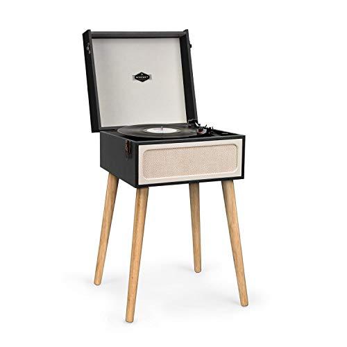 auna Sarah Ann Plattenspieler • Black Box Edition • integrierten Lautsprechern • Vintage Design im 50-iger Retro-Look • Bluetooth • Kopfhörer-Anschluss • USB • 3 Schallplattengrößen • schwarz-Creme - Plattenspieler