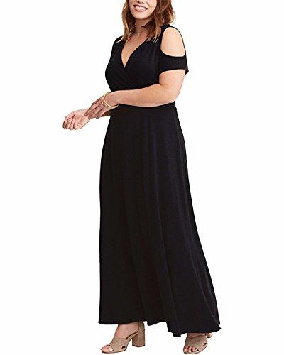 ABYOXI Damen Lang Elegant V Ausschnitt Kleid Abendkleid Große Größen (DE 54-56, Schwarz)