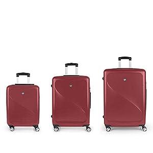 Gabol – Sand | Set de Maletas de Viaje Rigidas de Color Rojo con Maleta de Cabina, Trolley Mediano y Trolley Grande