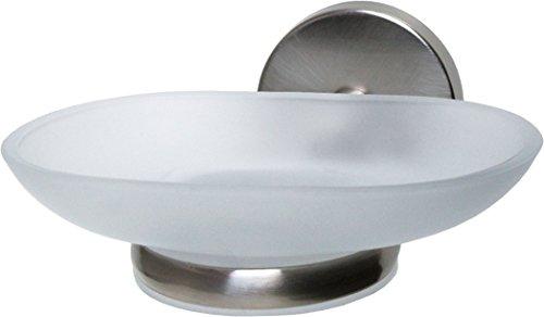 Fackelmann Ablageschale FUSION, Seifenschale mit vernickeltem Halter, Seifenhalter aus Glas (Farbe: Silber/Milchig), Menge: 1 Stück -