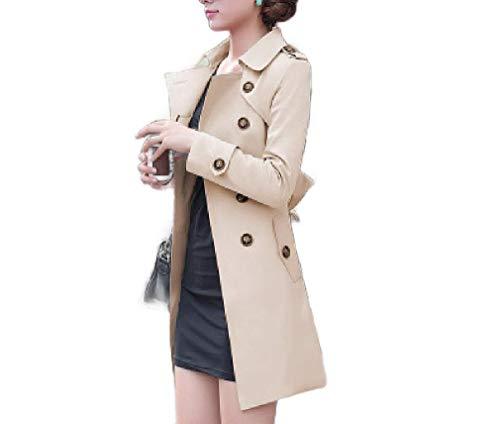 CuteRose Womens Windbreaker Jacket Double Button Waist Tie Fitted Overcoat Khaki S