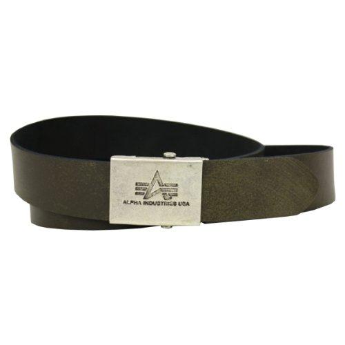 Alpha Industries Ledergürtel Leather Belt washed oliv - Einheitsgrösse