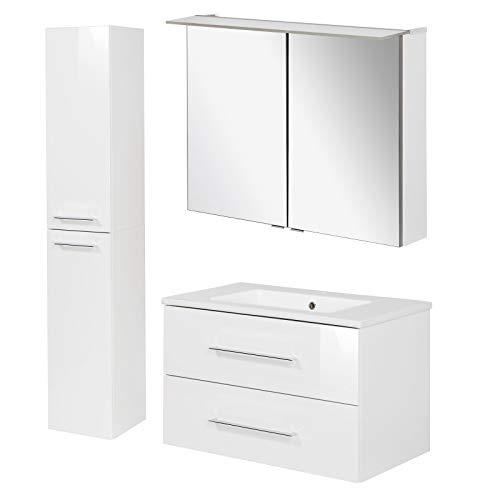 FACKELMANN weisses Badmöbel Set Hochglanz Waschbecken hängend & LED Spiegelschrank 80 cm 3 teilig