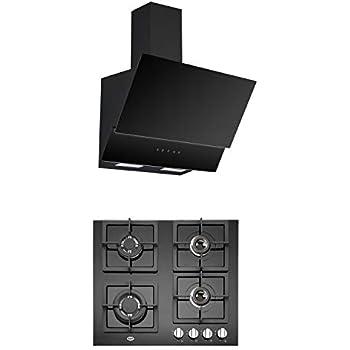 KAFF Kitchen Chimney NOVA TC 60 1000 m3/hr + KAFF Built in Hob Tempered Glass 4 Burner Black - NBD 2T 60 BG