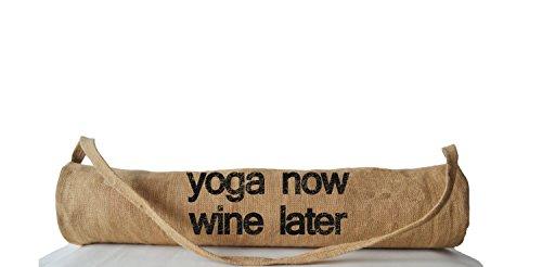 ga Mat Bag–leicht beige tan Yoga Tragetaschen–Yoga Zubehör–Yoga Sling–Druck Yoga Rucksäcke–Gym Bag–Yoga jetzt wein später–Manduka Pilates Tasche–Weihnachten Geburtstag Jahrestag Einzugs–Geschenk für sie, ihn–Funny Nachricht (Kundenspezifische Geschenk-taschen)