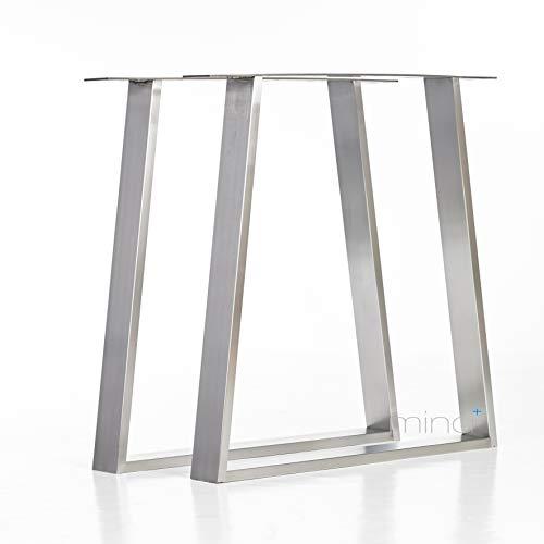 Tischgestell Trapez-Form modern I 80 x 20 mm Profil I hochwertiger Edelstahl gebürstet I 72 cm hoch I Indoor & Outdoor I Untergestell für Ess-, Schreib-, Gartentisch etc. I 1 Paar (2 Stück) -