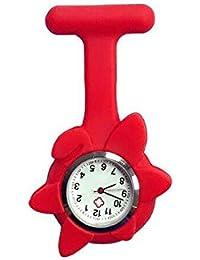 AHIMITSU Flor Forma Enfermera Reloj de Bolsillo Enfermera Reloj Broche túnica Reloj de Bolsillo Reloj Colgante Pin Reloj (Rojo)
