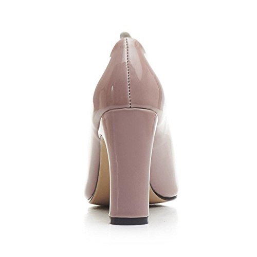 TAOFFEN Damen Mode Blockabsatz Schlupfschuhe High Heel Pumps 461 Aprikose