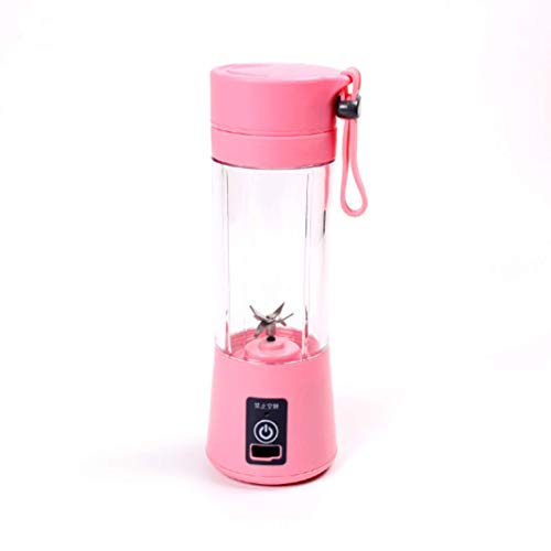 Marbeine 380ml Mini Botella Exprimidor Licuadora Eléctrica Recargable USB Portátil Plástico (rosa)
