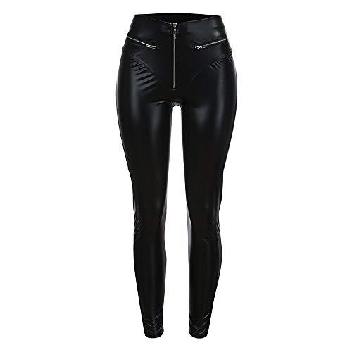 JMETRIC Damen Kunstlederhose|Skinny Hose| hohe Taille Hosen|Leggings|Feste Hosen|Bleistift Hose|Zip Pocket elastische