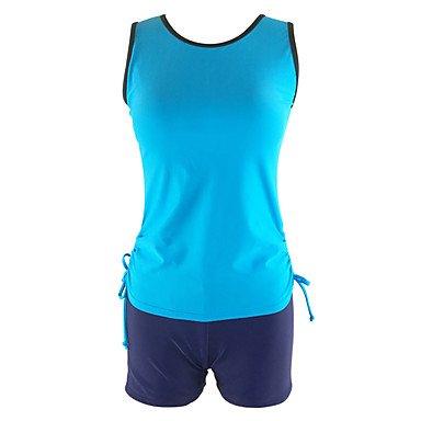 HHBO Damen Tankinis - Hochgeschnitten Einheitliche Farbe Mit Schleife Polyester Stirnband Blue