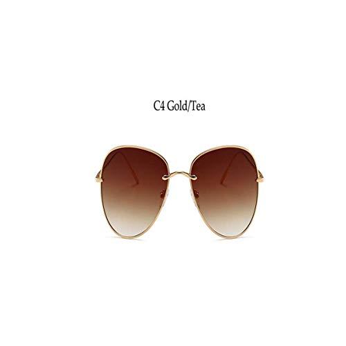 Daawqee Prämie Sonnenbrillen,Brillen, Aviation Sunglasses Women Retro NEW Metal Gradient Orange Lens Round Vintage Sun Glasses For Men UV400 0243