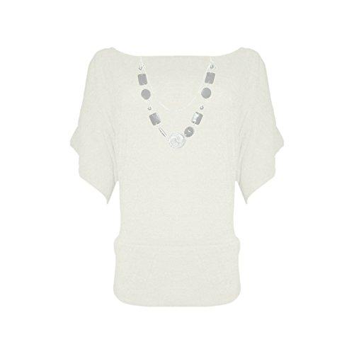 Janisramone Frauen Ärmel gestrickter Pulli Top mit Halskette Cremefarben