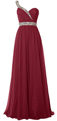 MACloth Women One Shoulder Crystals Long Prom Dress Chiffon Evening Formal Gown Weinrot