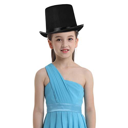 Satin-hutband (FEESHOW Erwachsene Kinder schwarzer Filzhut Jazz Fedora Hut mit Satin Hutband Zauberer Cosplay Kostüm Retro Zubehör für Hochzeit Party Halloween Schwarz_B One Size)