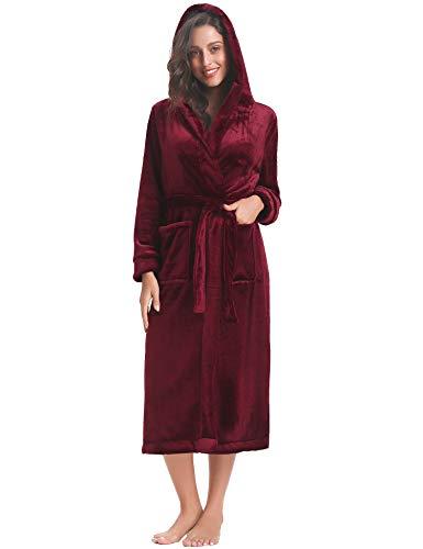 Aibrou Pyjama Femme Polaire Robe Chambre Homme Longue Chapeau Hiver Sortie de Bain Peignoir Pas Cher personnalisé Vin Rouge EU44-46