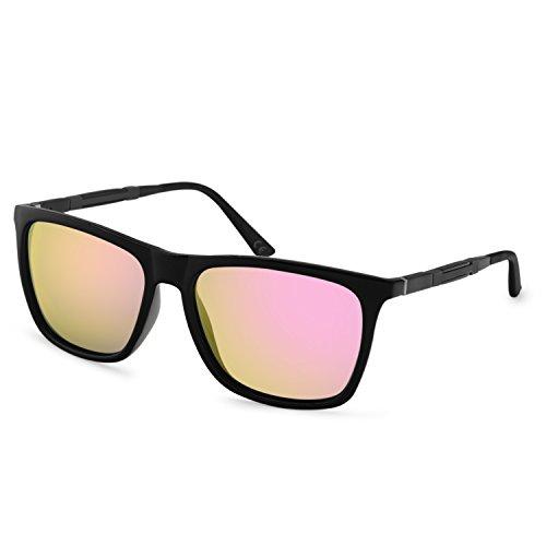 AMZTM Polarisiert Verspiegelt Stil Sonnenbrille für Damen Quadratischer Rahmen Al-Mg Beine HD Vision Mode Blendschutz Fahren Angeln Brille (Schwarz und Rosa, 55)