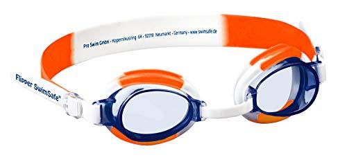 Flipper SwimSafe 1035 Schwimmbrille für Kinder ab 12 Monate, verstellbar, mit UV Schutz und Antibeschlag, inklusive Brillenetui, Bunt