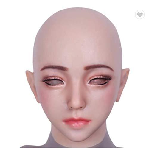 de für Mann-weibliches Silikon-weibliches Headwear-realistisches Göttin-Gesicht für Halloween Crossdresser ()