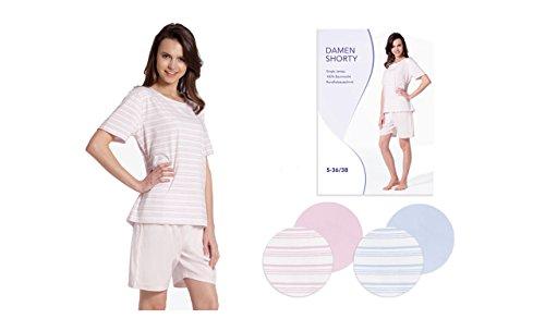 Kurzer, modischer Pyjama für Damen mit geringeltem Oberteil und unifarbiger Hose