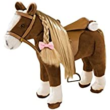 Goetz 3402375Brown Beauty kaemm cavallo–Peluche cavallo marrone con un bastone di diametro di circa 37cm e di una altezza di circa 52cm per bambole–per bambini a partire dai 3anni