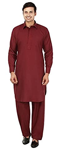 Maple Clothing Pattani Kurta Salwar Set Parti Indienne Mens Wear (Bordeaux, XXXL)