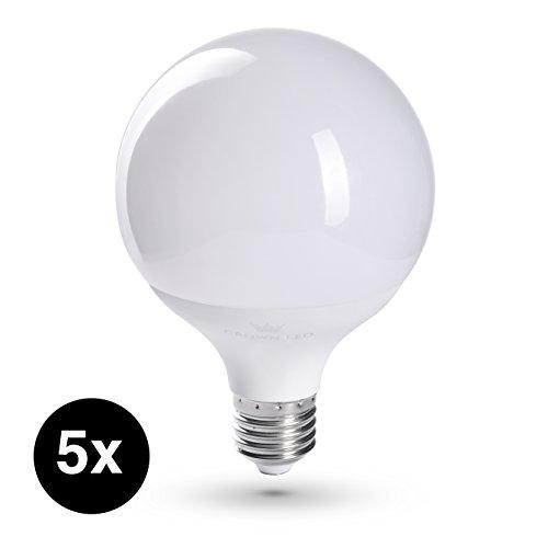 CROWN LED Lampen | 5 Stück | E27 | 11W | Ersatz für 90W | Warmweiß | 230V | 230° Abstrahlwinkel | CR06 (Stück Runde Sockel 5)