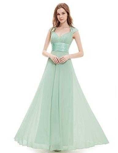 Ever Pretty Damen V-Ausschnitt Lange Chiffon Abendkleider Festkleider 46 Hellviolett EP09672LV14