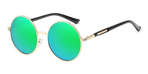 BOZEVON Retro Style Circle Sonnenbrille Runde Linse für Damen Gold-grün