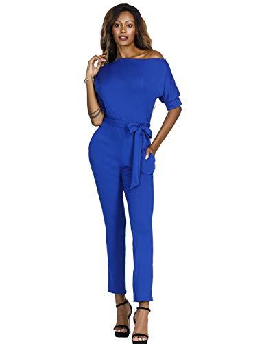 Lover-Beauty Damen Elegante Jumpsuit Lang Weites Bein Overalls Hoher Taille Spielanzug mit Gurt Halbe Hülse Business Büro,Blau S