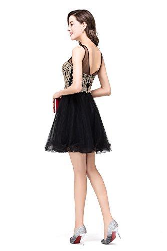 Babyonlinedress Femme Elegant Sexy Robe de Soirée/Cocktail/Cérémonie Courte sans Manches Col Cœur avec Cristal Appliques en Tulle Noir