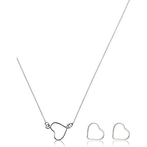 Córdoba Jewels | Conjunto de gargantilla y pendientes en Plata de Ley 925. Diseño Corazón Silver