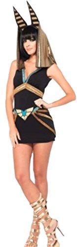 erdbeerloft - Damen Anubis Pharaonen Kostüm- Paillettenbesetztes Kleid und Kopfbedeckung , M, Schwarz Gold (M&m Kostüm Gruppe)
