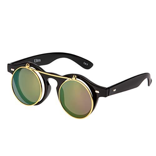 Ultra Lila Linsen mit Schwarz Linsen Flip Up Ronde Steampunk Sonnenbrille Retro Frau Mann UV400 UVA UVB Vintage Victorian Kreis Retro Brille