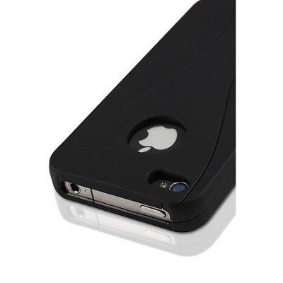 wortek Schutzhülle dreiteilig Apple iPhone 4 / 4S Hülle Hardcase 3 Part Schwarz Lila Schwarz