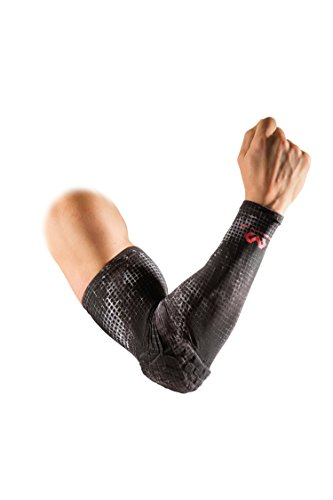 Mcdavid Hex Kompression Shooter Arm Sleeve W/ELLBOGENSCHÜTZER für Basketball, Fußball, alle Kontaktsportarten, Single, MGrid, Medium