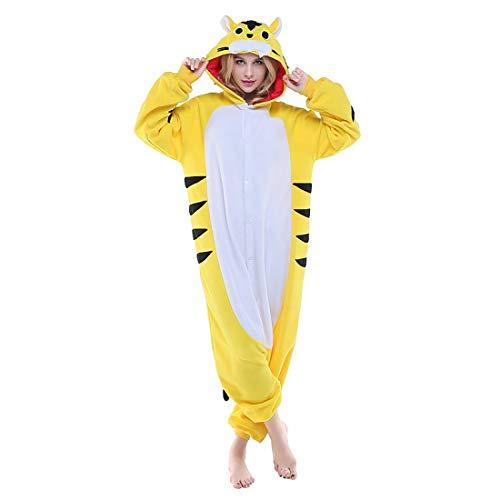 DUKUNKUN Erwachsene Pyjamas Tiger Pyjamas Kostüm Gelb Cosplay Für Tier Nachtwäsche Cartoon Halloween Festival/Urlaub/Weihnachten,XL (Erwachsenen Tiger Halloween-kostüm)