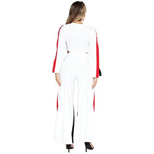 BOLAWOO Tuta Donna 2 Pezzi Crop Top + Pantaloni Lungo Eleganti Casual Clubwear Manica Lunga Rotondo Collo Magliette Vita Alta Spacco Pantaloni Larghi Bianco
