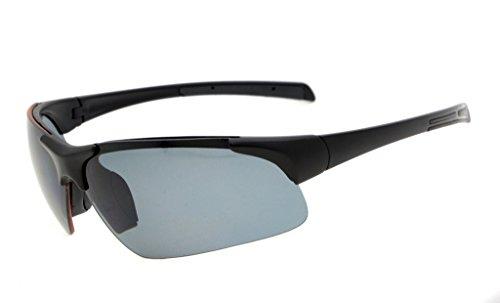 Eyekepper Polycarbonat halb-rimless polarisierten Sport Sonnenbrillen für Männer Frauen halben randlose Baseball laufen Fischen fahren Golf Softball wandern TR90 schwarz Frame grau Lens